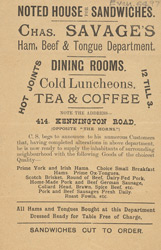 Advert For Chas. Savage's Dinning Rooms